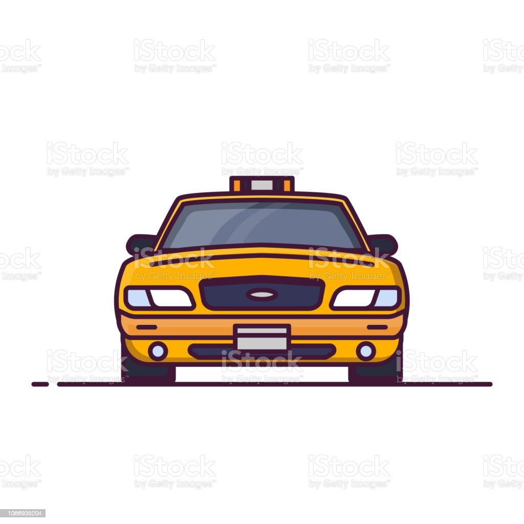 Front View Of Taxi Car Stock Illustration Download Image Now Istock