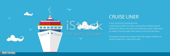 istock Front View of the Cruise Ship, Banner 906735460