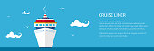 Banner with Cruise Ship , Front View of the Liner in the Sea, Travel and Tourism Concept , Vector Illustration