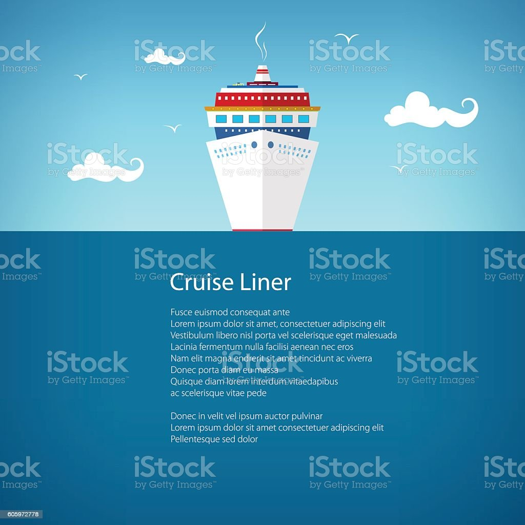 Front View of the Cruise Ship, Poster vector art illustration