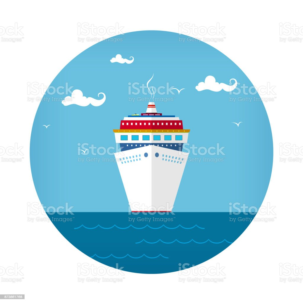 Front View of the Cruise Ship vector art illustration