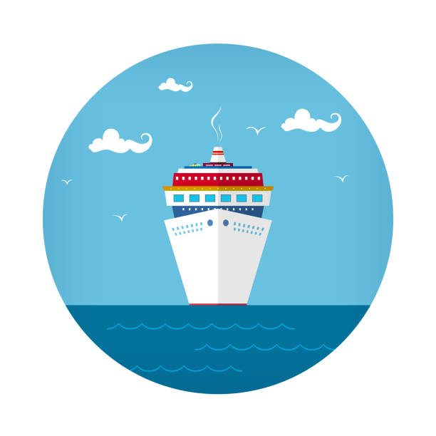 Front View of the Cruise Ship Icon Cruise Ship , Front View of the Liner, Travel Concept , Vector Illustration cruise vacation stock illustrations