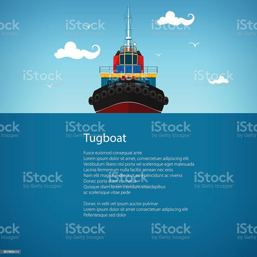 Front View of the Tugboat , Poster vector art illustration