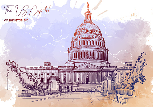 Front view of the US Capitol Building. Cityscape, urban hand drawing. Sketch on grunge watercolor spot background. EPS10 vector illustration.