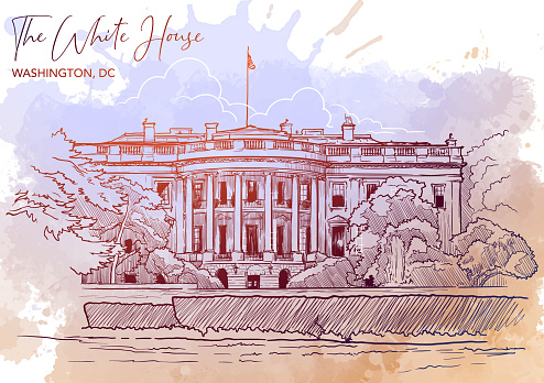 Front view of the White House and the lawn. Watercolor Grunge BG