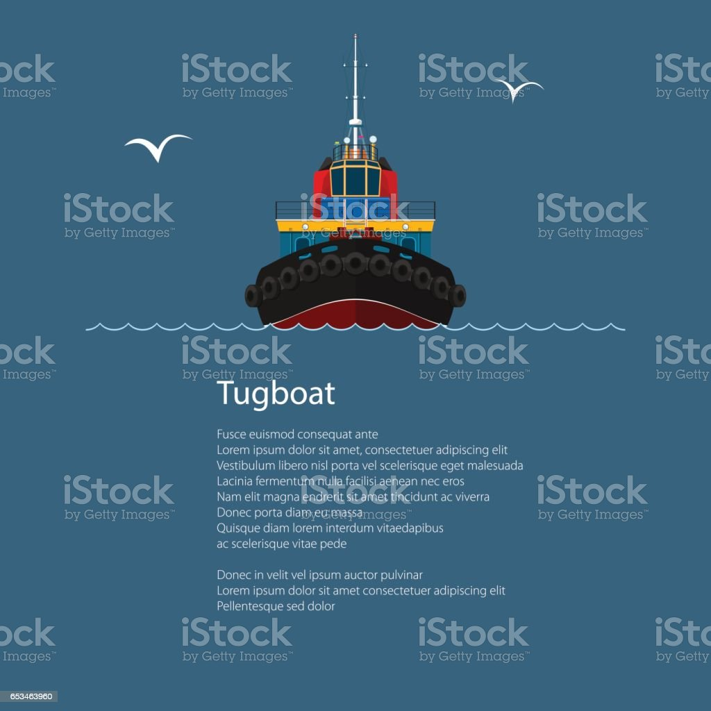 Front View of Tugboat and Text vector art illustration
