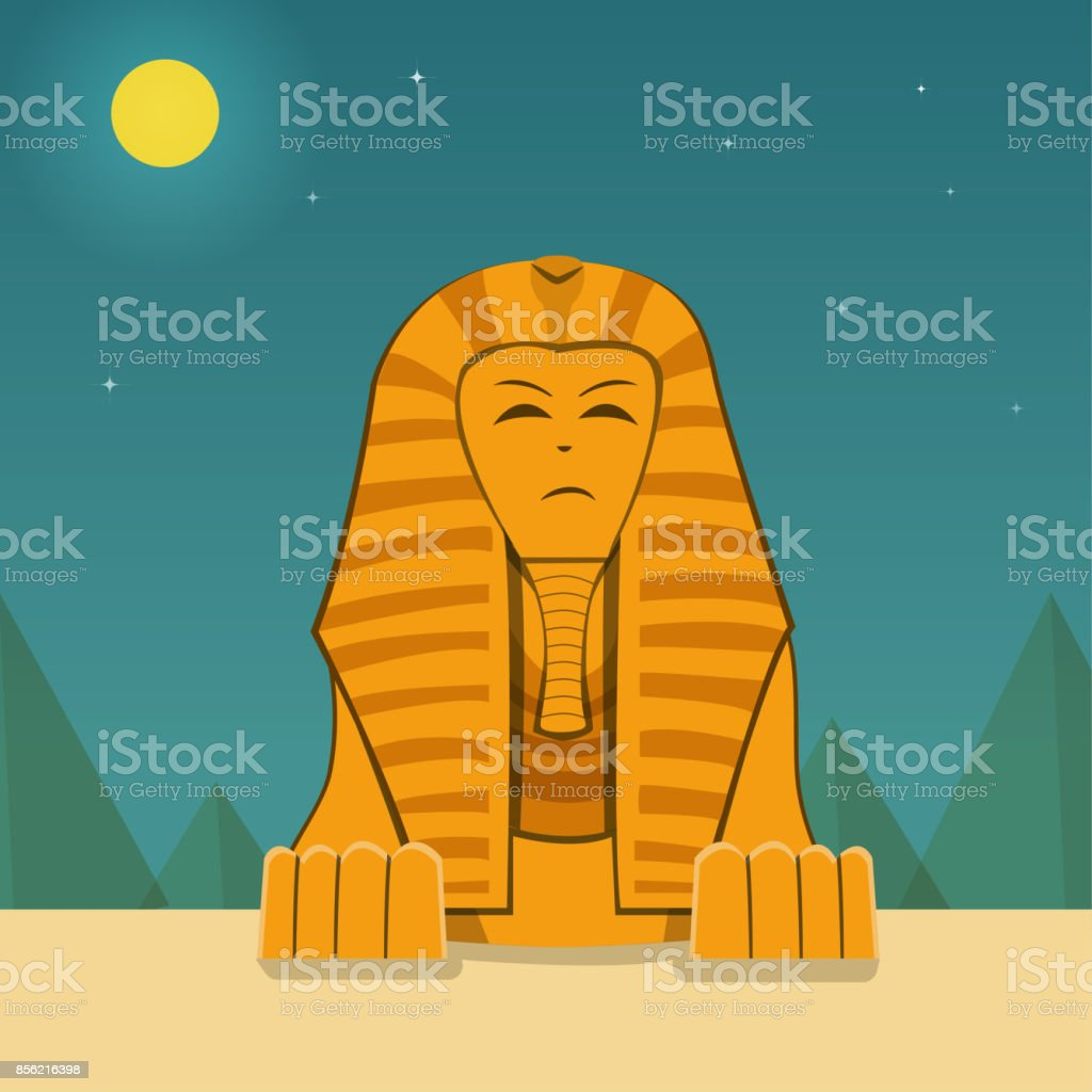 Front view, Sphinx at night time, vector landscape vector art illustration