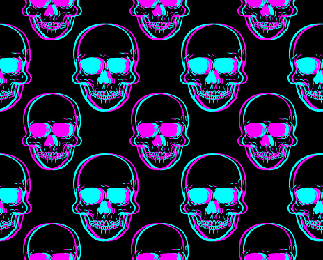 Front view vector illustration of a human skull pattern