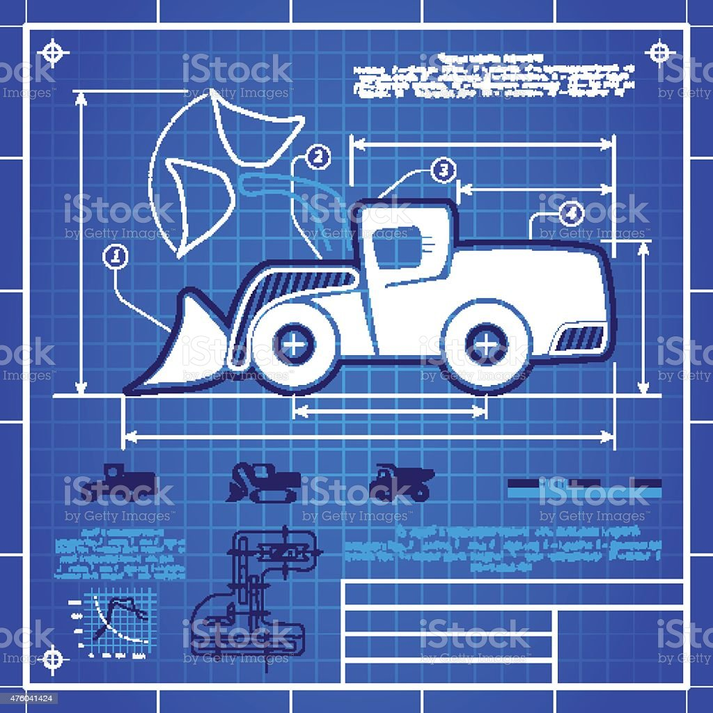 Front wheel loader icon like blueprint drawing stock vector art front wheel loader icon like blueprint drawing royalty free front wheel loader icon like blueprint malvernweather Images