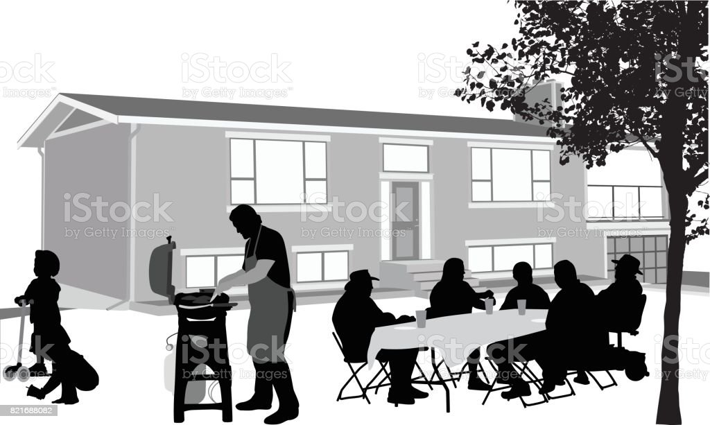 Front Yard Barbecue vector art illustration
