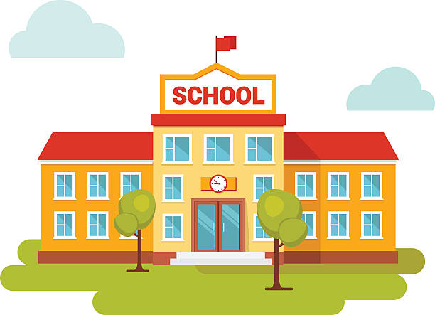 front yard of school building. - school stock illustrations