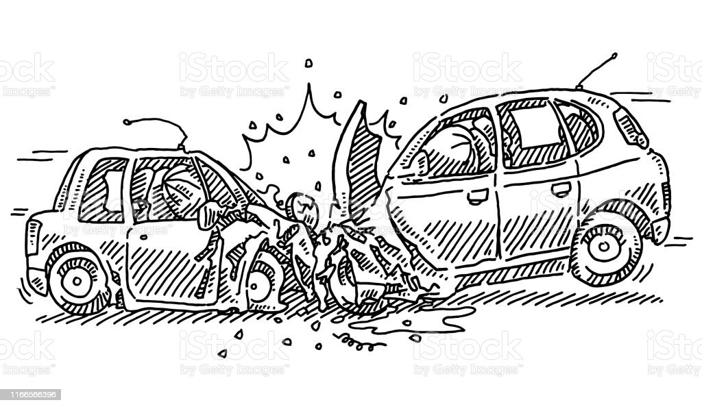Hand-drawn vector drawing of a Frontal Crash Car Accident....