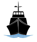 Frontal view of a floating ship, tug or boat. Logo for sea, ocean or river transport company