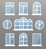 Set of different isolated window frames. Frontstore windows with blue glasses. Exterior building facade elements on transparent background. Vector illustration.