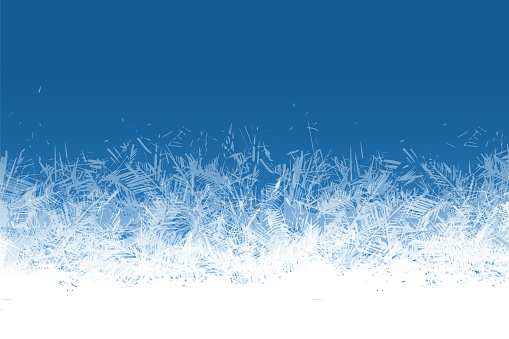 Frost window. Frozen ornament blue ice crystals pattern on window winter beautiful ice frame frosty crystal pattern transparent icy structure xmas festive frostwork vector background