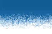 istock Frost window. Frozen ornament blue ice crystals pattern on window winter beautiful ice frame frosty crystal pattern transparent icy structure xmas festive frostwork vector background 1277143510