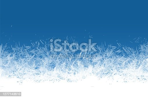 Frost window. Frozen ornament blue ice crystals pattern on window winter beautiful ice frame frosty crystal pattern transparent icy structure xmas festive frostwork abstract vector isolated background