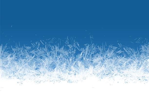 ilustrações de stock, clip art, desenhos animados e ícones de frost window. frozen ornament blue ice crystals pattern on window winter beautiful ice frame frosty crystal pattern transparent icy structure xmas festive frostwork vector background - gelo