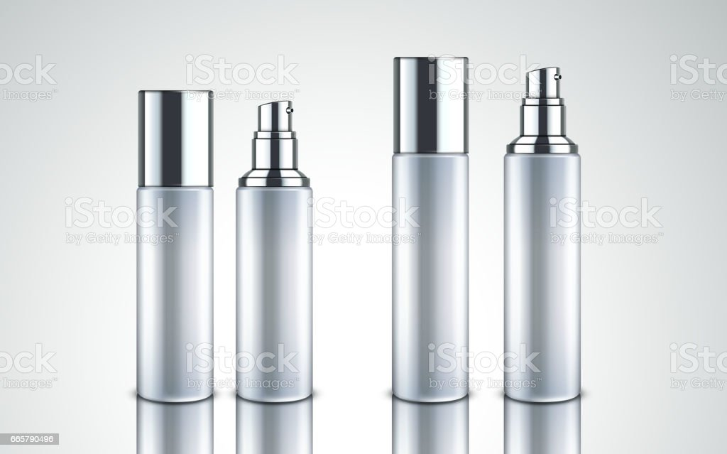 frosted glass cosmetic bottles vector art illustration