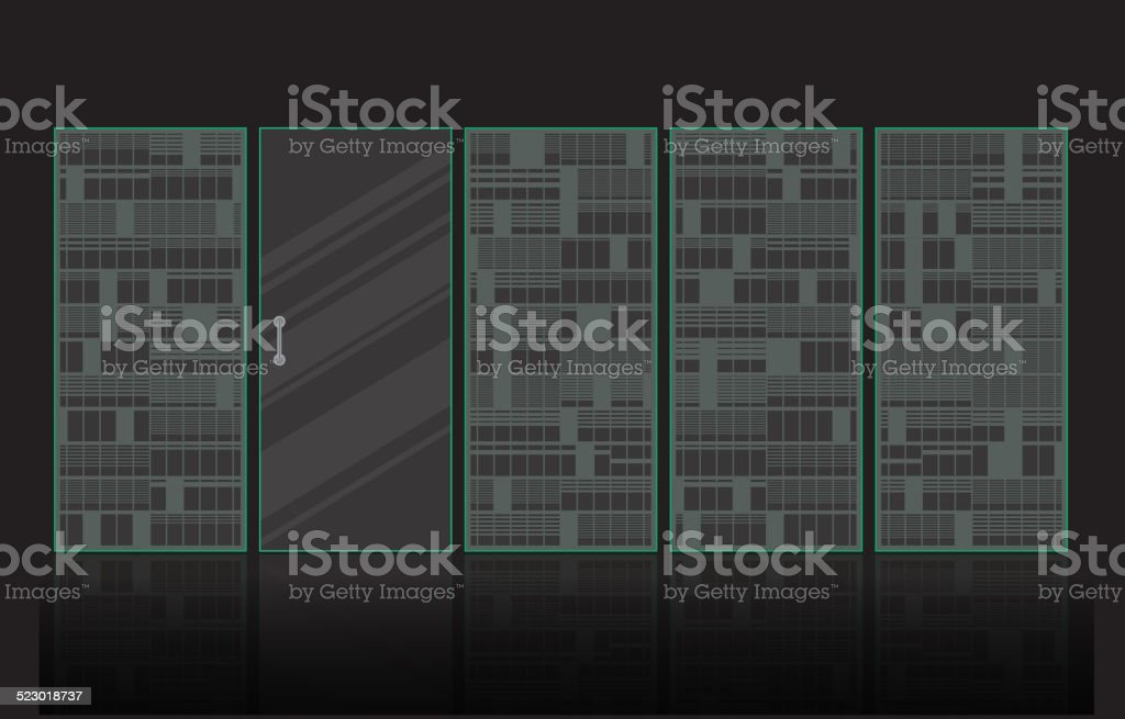 Frosted glass door, Pattern building style vector art illustration
