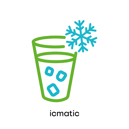 Frosted glass icon. Ice maker icon.