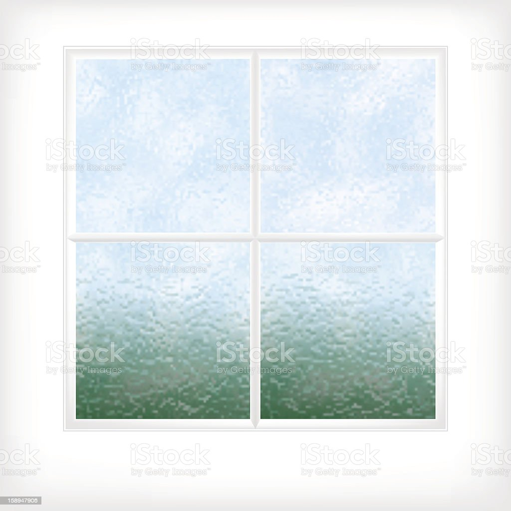 Frosted glass window vector art illustration