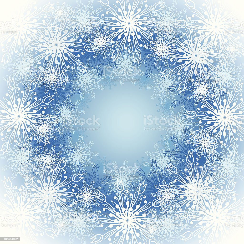 Frosted window.  Christmas snowflakes pattern. vector art illustration