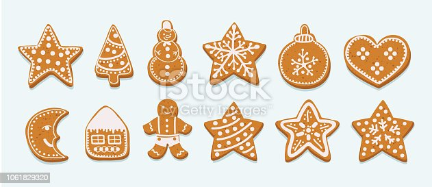 Various frosting gingerbread cookies on a white background. Sugar glaze gingersnap. Christmas holiday. Vector cartoon illustration in modern concept