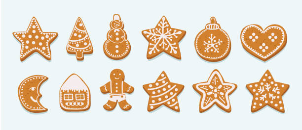 ilustrações de stock, clip art, desenhos animados e ícones de frosting gingersnap on a white background - christmas cookies