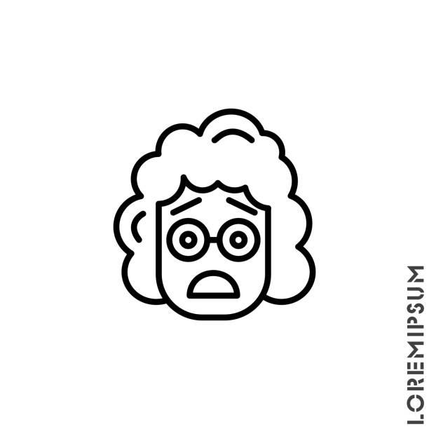 illustrazioni stock, clip art, cartoni animati e icone di tendenza di frowning with open mouth emoji outline vector girl, woman icon with raised eyebrows. thin line black frowning with open mouth emoji icon, vector simple element illustration from editable emoji concept - smile woman open mouth