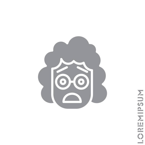 illustrazioni stock, clip art, cartoni animati e icone di tendenza di frowning with open mouth emoji vector girl, woman icon with raised eyebrows. frowning with open mouth emoji icon, vector simple element illustration from editable emoji concept. gray on white background - smile woman open mouth