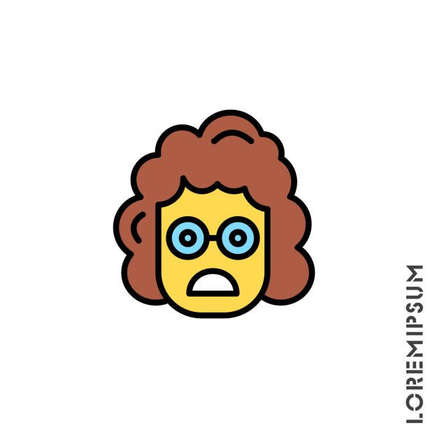 illustrazioni stock, clip art, cartoni animati e icone di tendenza di frowning with open mouth girl, woman emoji yellow vector icon. frowning with open mouth emoji icon, vector simple element illustration from editable emoji concept isolated - smile woman open mouth