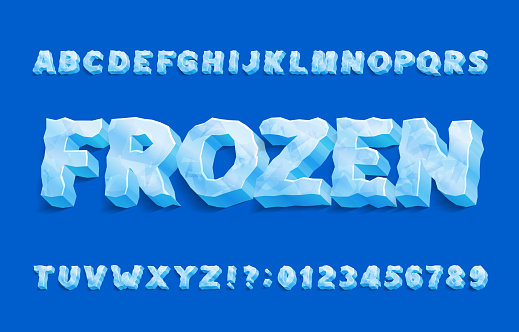 Frozen alphabet font. 3D ice letters and numbers with shadow.