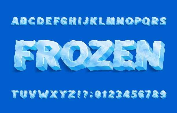 Frozen alphabet font. 3D ice letters and numbers with shadow. Frozen alphabet font. 3D ice letters and numbers with shadow. Stock vector typeface for your typography design. ice stock illustrations