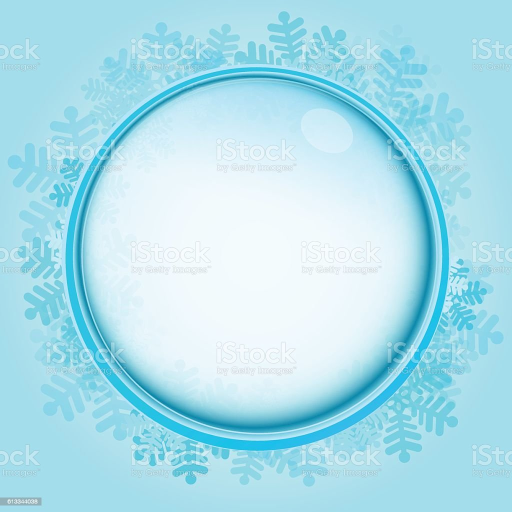 Frozen Circle Frame With Blue Snowflakes Vector Stock Vector Art ...