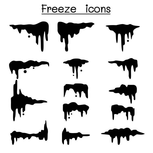 gefrorene & cool icon-set - eiszeit stock-grafiken, -clipart, -cartoons und -symbole