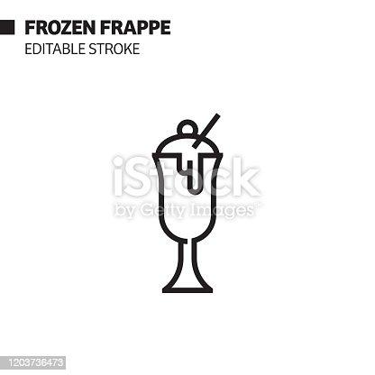 istock Frozen Frappe Line Icon, Outline Vector Symbol Illustration. Pixel Perfect, Editable Stroke. 1203736473