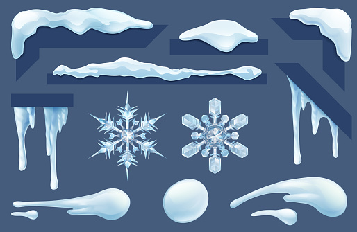 Frozen Icicles Ice and Snow Winter Design Elements