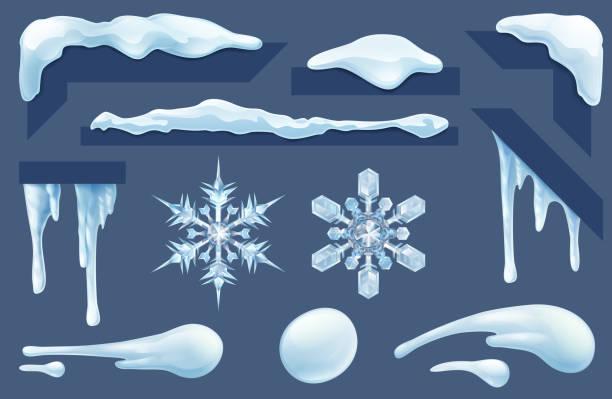 gefrorene eis- und schnee-winter-design-elemente - eiszapfen stock-grafiken, -clipart, -cartoons und -symbole