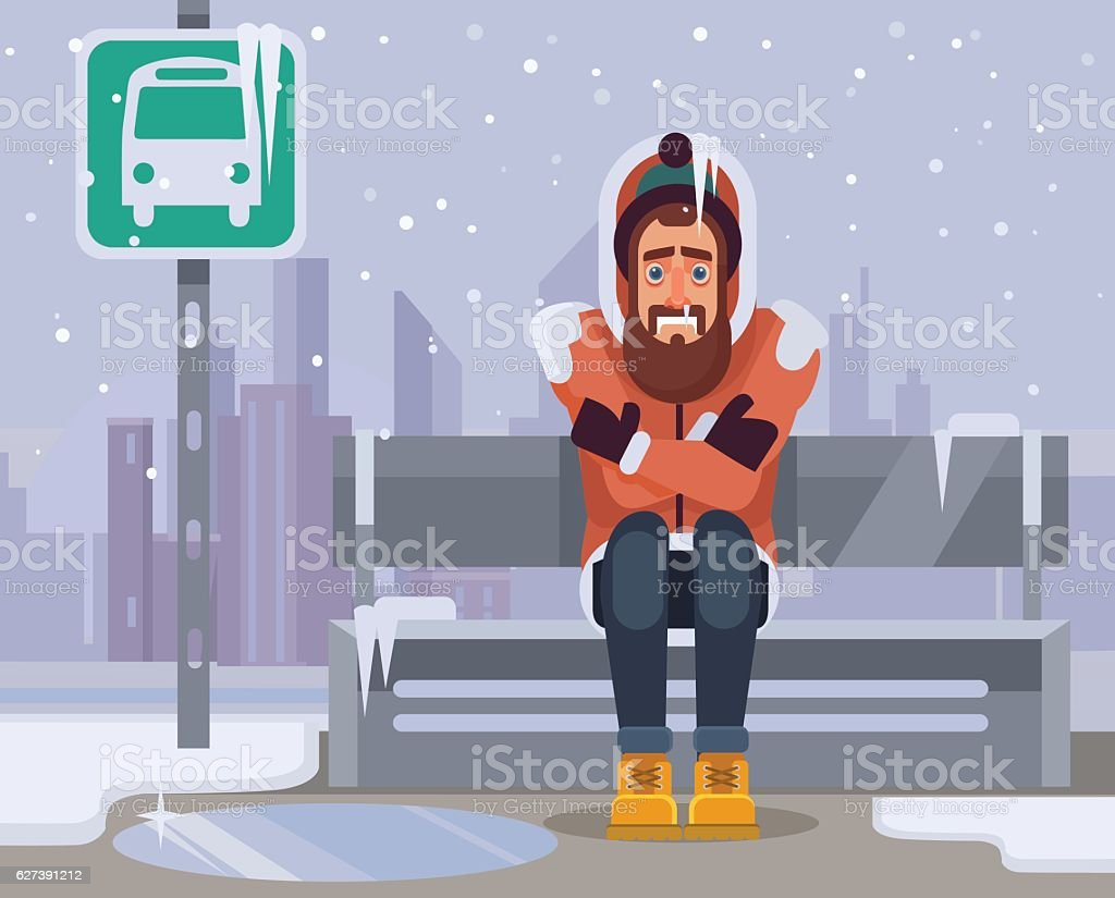Frozen man character waiting for bus for long time vector art illustration
