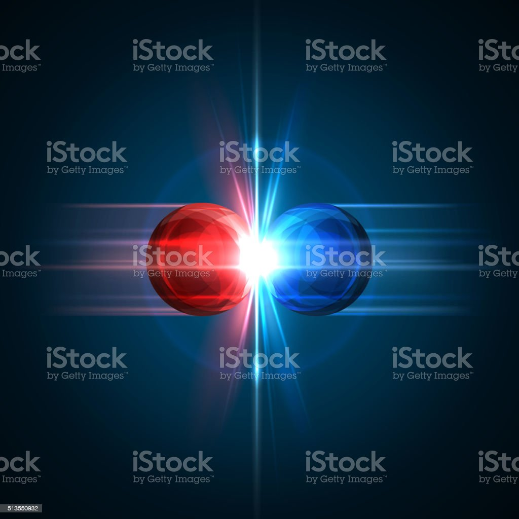 Frozen moment of two particles collision Frozen moment of two particles collision with red and blue light. Vector illustration. Explosion  concept. Abstract molecules impact on black background. Atomic Power. Nuclear reactions concept. Abstract stock vector