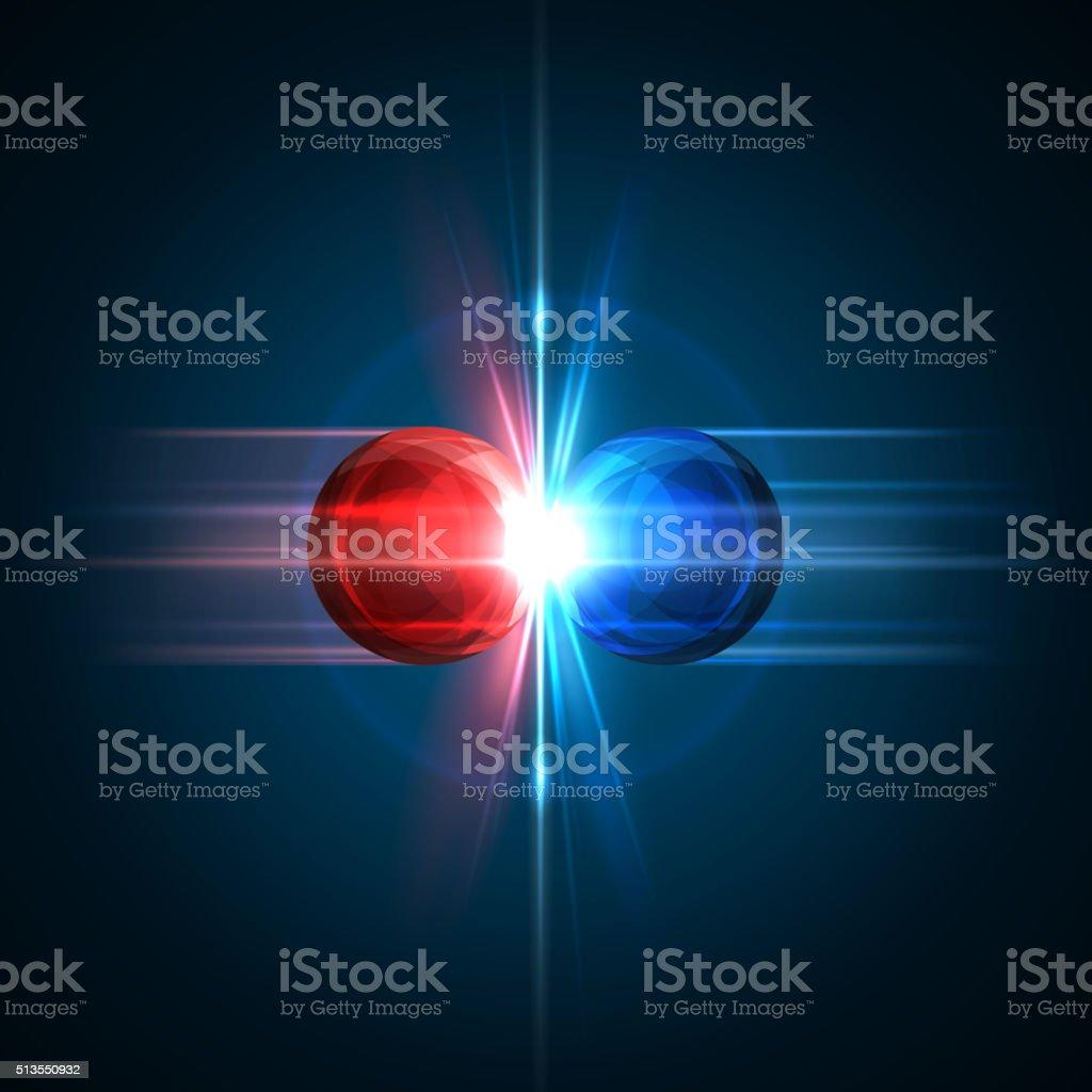 Congelarse momento de dos partículas colisión - ilustración de arte vectorial