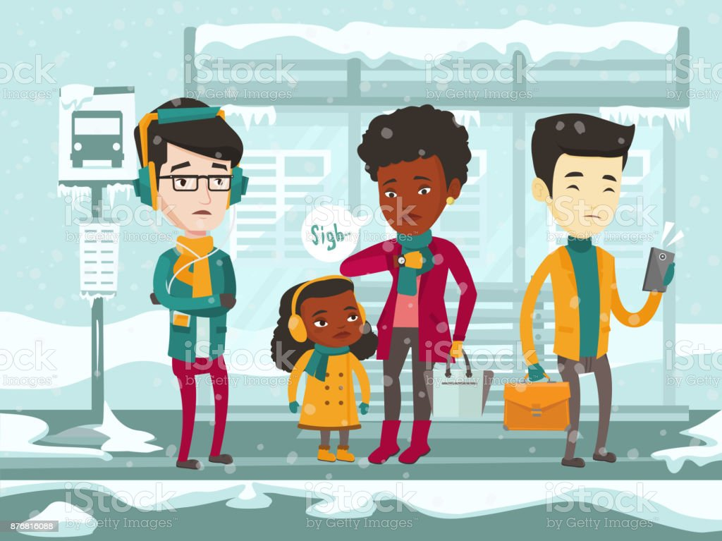 Frozen multicultural people waiting for bus vector art illustration