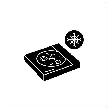 Frozen pizza glyph icon