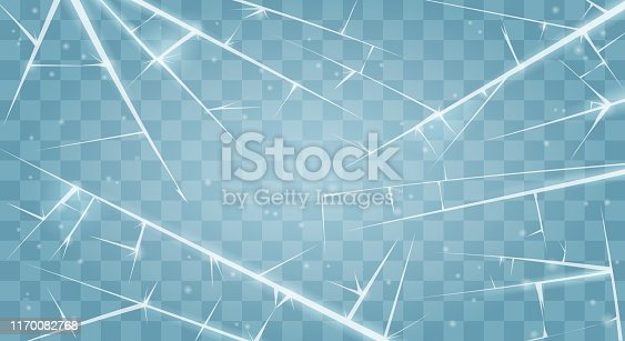 Frozen surface. Vector window with white ice cracks, cold cracked texture background, abstract frost winter sheet