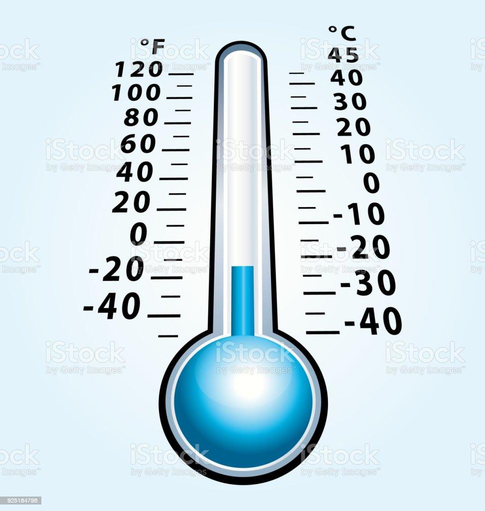 Ilustración de Termómetro Congelado Con Temperatura Negativa Icono ...