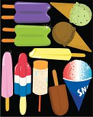 A collection of tasty frozen treats.