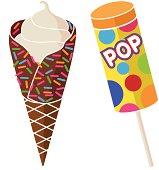 A vector illustration of frozen treats.