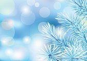Frozen tree branch on blur backdrop