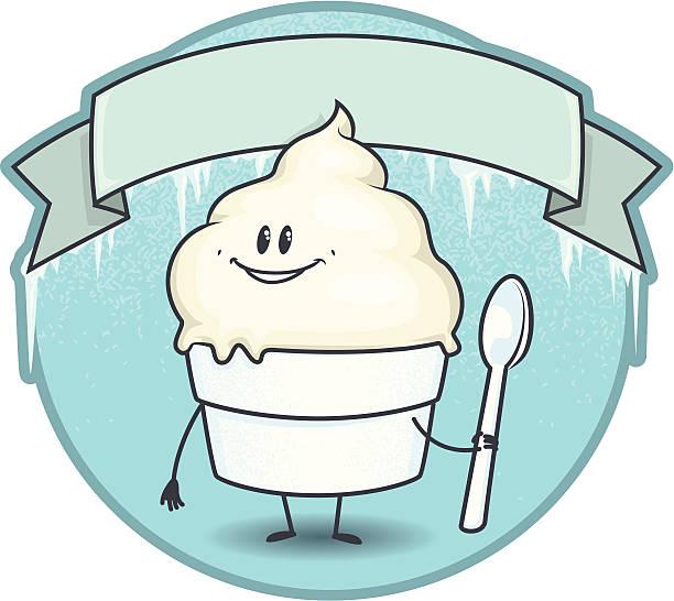 frozen vanillesauce junge mit banner - vanillesauce stock-grafiken, -clipart, -cartoons und -symbole